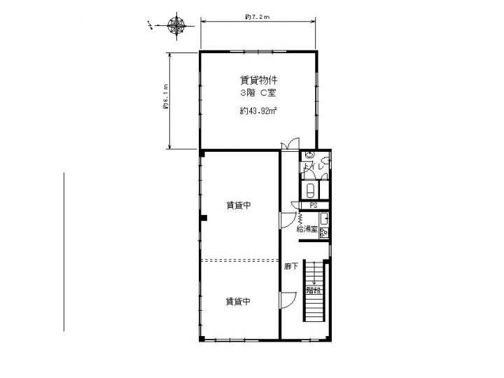 大津市 石山エリアオフィスビル3F約13坪テナント