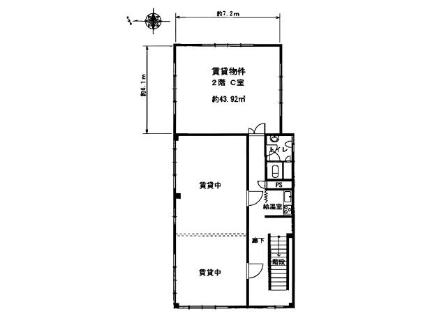大津市 石山エリアオフィスビル 2F約13坪テナント