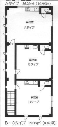 大津市JR石山駅徒歩8分、空調設備完備、事務所仕様2F約10坪テナント