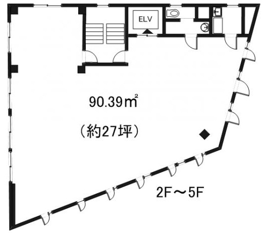 大津市JR石山駅徒歩2分!1号線沿い5F約27坪テナント